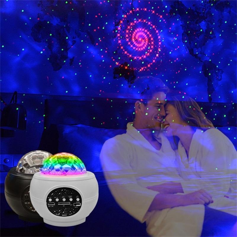 Светодиодная Galaxy Atmosphere Проектор Лампа Партия Starry USB Поворот Ocean Sky Star Blue Зубная Музыка Лазер Ночной Легкий Узор Вода Светильники Черный 85QQ M2