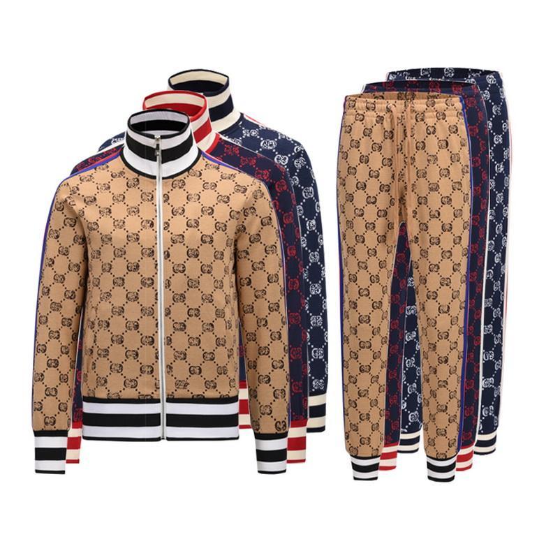 2021 Tasarımcı Tracksuirt Marka Erkek Eşofman Ceketler ve Pantolon Spor Kazak Rahat Sonbahar Erkekler Fermuar Ceket Ve Pantolon M-3XL