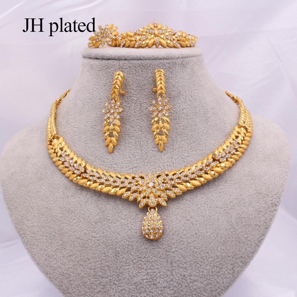 Jewelry sets for Women Dubai 24K gold color India Nigeria wedding gifts necklace earrings Bracelet ring set Ethiopia jewellery 201215
