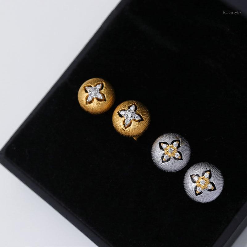 Instoo İki Tonlar Sarı Ve Beyaz Altın Renk Gümüş S925 Saplama Küpe Kadınlar için Düğün1
