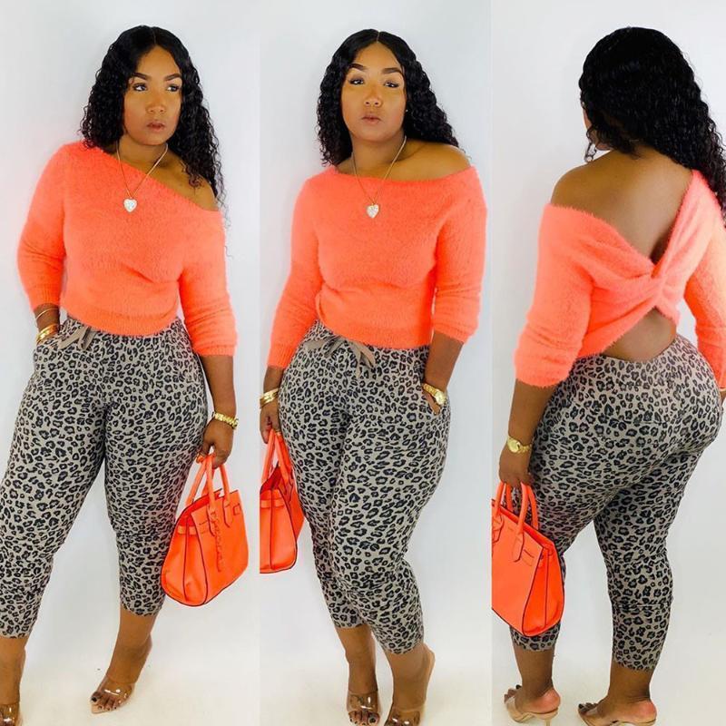 2020 İlkbahar Sonbahar İki Adet Set Üst Ve Pantolon Kadın Uzun Kollu Kırpma Üst Leopar Elastik Skinny Tayt Spor Kıyafetler1