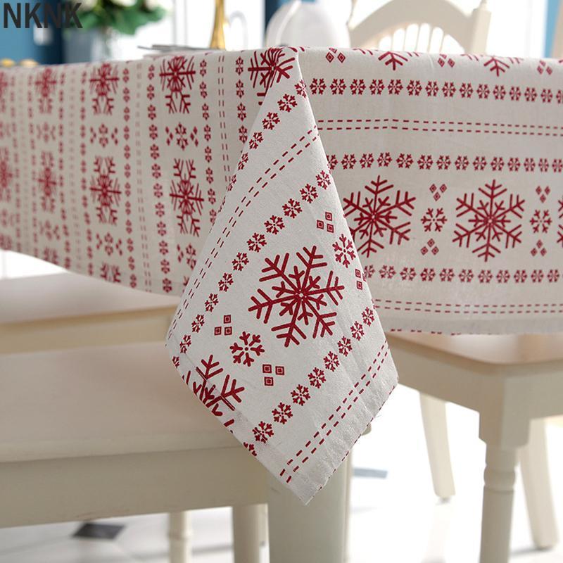 Настольная ткань Настраиваемые льняные хлопчатобумажные скатерти Красные снежинки Рождество для свадебной банкетной моющейся крышки текстиль