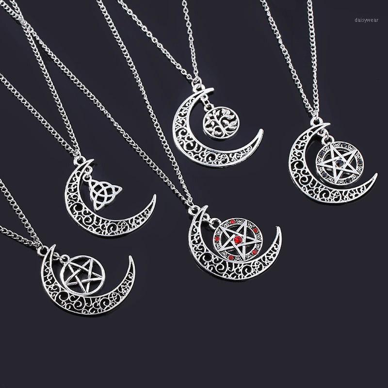 Rj supernatural pentagrama colgante hombres collar proteccion de bruja estrella amuleto yggdrasil vida árbol pentagram collares mejor regalo1