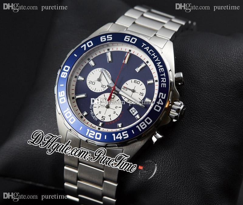 Yeni Formula 1 F1 F Bir Aston Martin Kırmızı Yarış Japonya Kuvars Chronograph Mens İzle Mavi Gümüş Dial Çelik Bilezik Puretime A01
