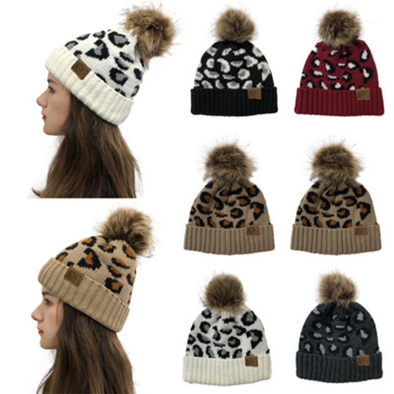 2020 Leopardo Trendy Chapéu de Cabelo Removível Para As Mulheres Outono Inverno Quente Kintted Hats Casual Lãs Ao Ar Livre Cap1