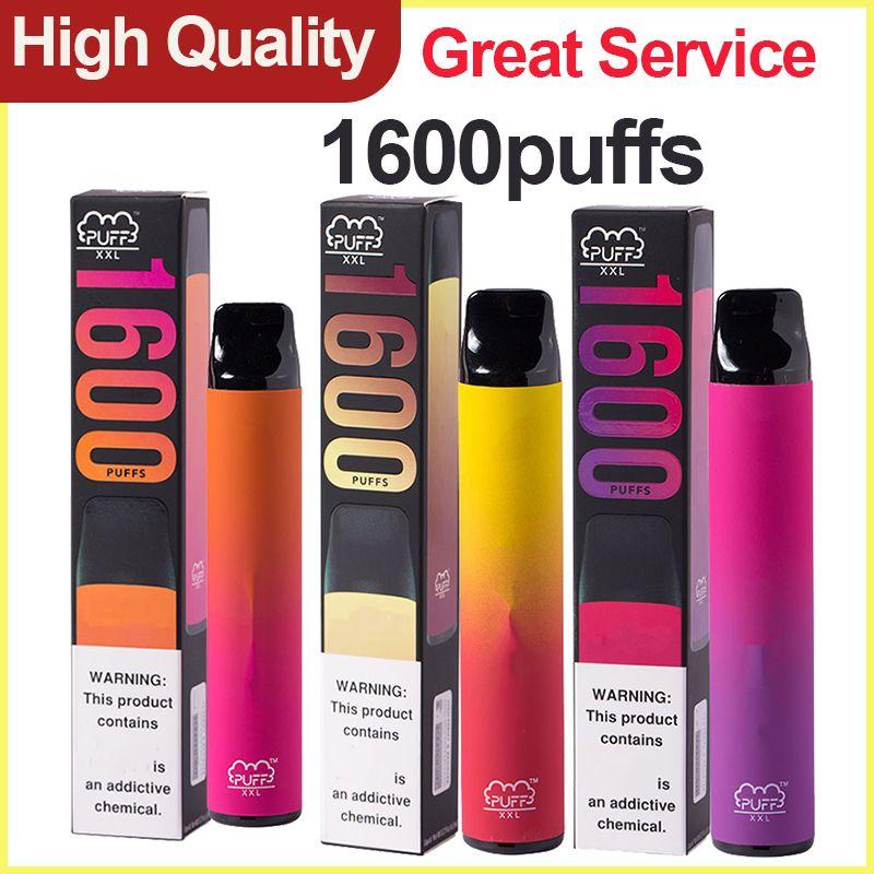 Puf XXL Tek Kullanımlık Vapes Yerel Kalem 1600Puffs Puf Bar XXL Buhar Aygıt Kartuşları Pods Vape Taşınabilir E CIGS Buharlaştırıcı Puf XXL
