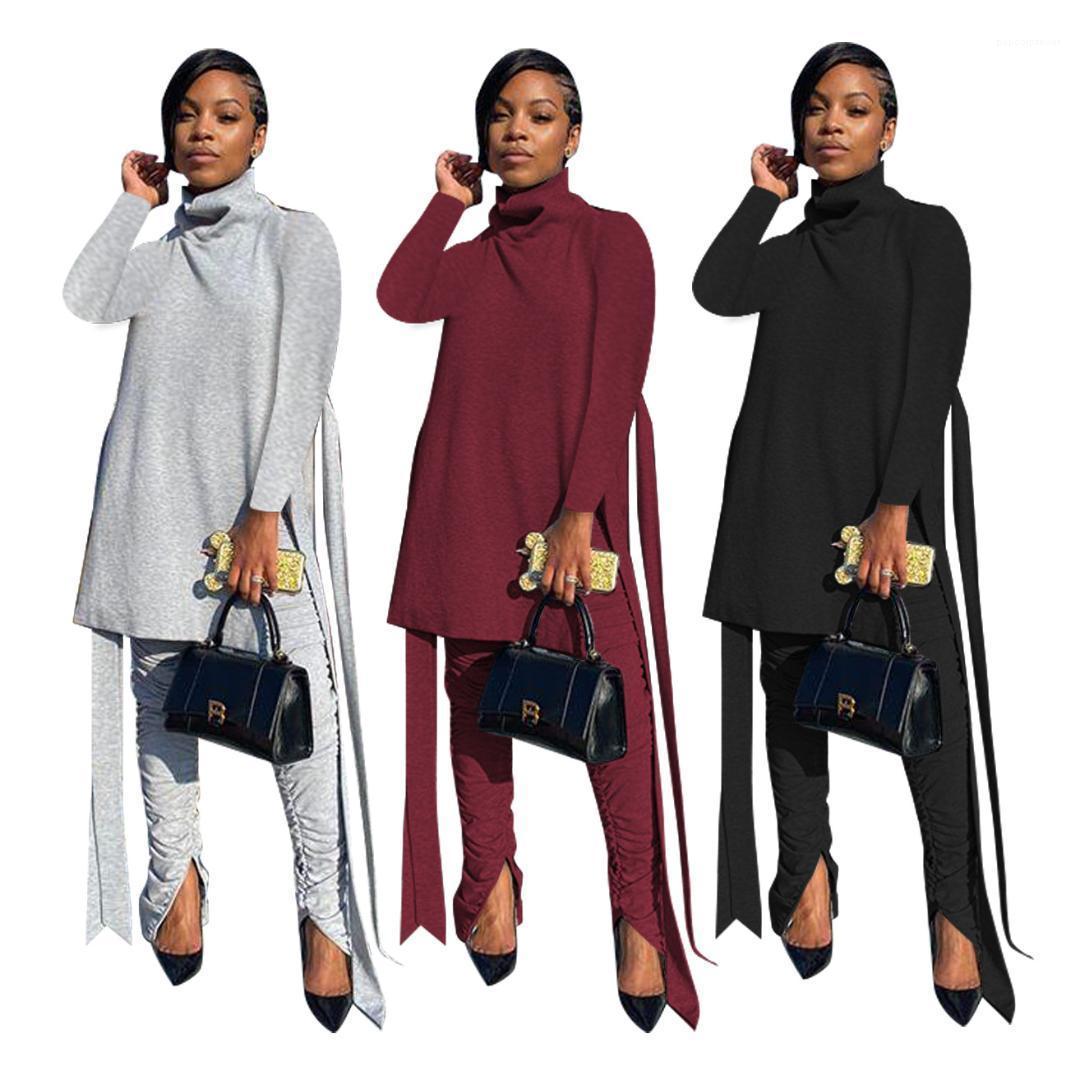 Boyun Bandge Yığılmış Pantolon 2 adet Set Moda Kadın Tasarımcı Eşofman Kadın 2 Parça Kıyafet Sonbahar Uzun Kollu Katı Renk Yüksek