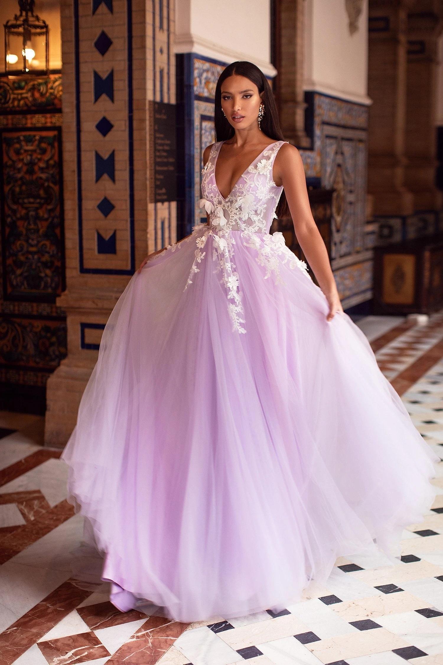 Платья Princess выпускного вечера Tulle LILAC великолепное вечеринка платье V-образным вырезом линии белые цветочные аппликации вечерние платья Vestido de Fiesta P108
