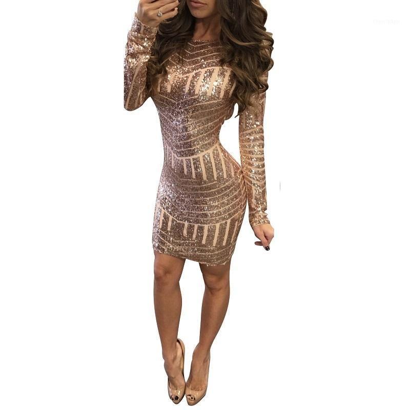 New Gold Sequined Women Dress 2017 Sexy Backless Camisole Club Manica Lunga O-Collo Mini Dress Dress Party Abiti corti Skinny Vestidos1