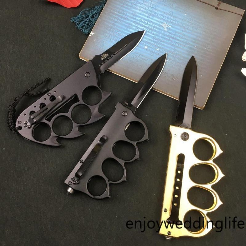 Selbstverteidigungswerkzeug Outdoor Edelstahlfalt Camping Messingmesser Falten Muti-Funktion Messer Stahlmesser Knuckles FY4378 NCJWM