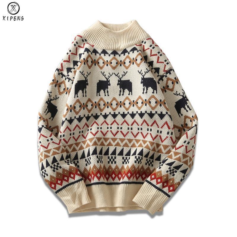 New Christmas Men Sweater Knitwear Printed Deer Streetwear Jersey Pull Homme Half Turtleneck Vintage Sweater Man Pull