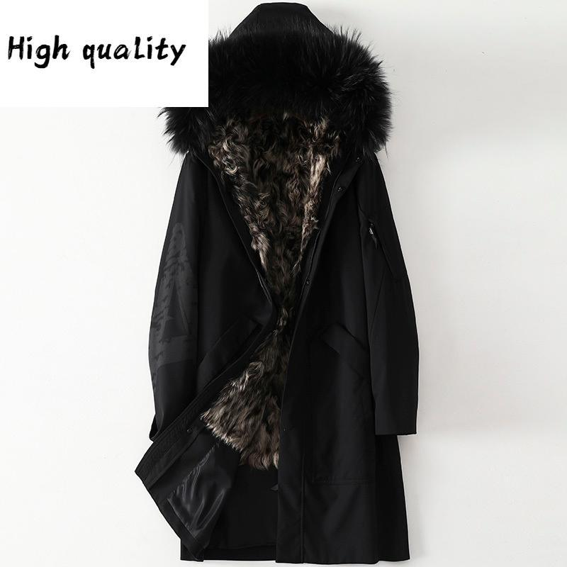 Winter Real Jacket Coat Men Parkas Natural Wool Liner Raccoon Dog Fur Collar Long Warm Parka TDY1207-1C KJ