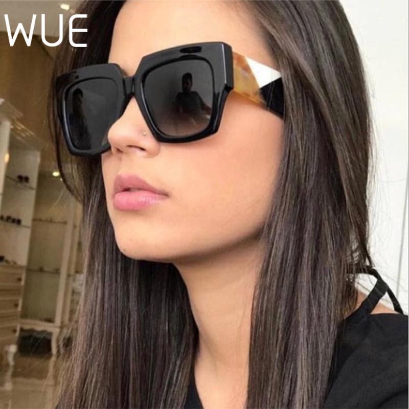 Güneş Gözlüğü Wue Kare Boy Kadınlar 2021 Tasarımcı Degrade Güneş Gözlükleri Büyük Çerçeve Vintage Gözlük UV400