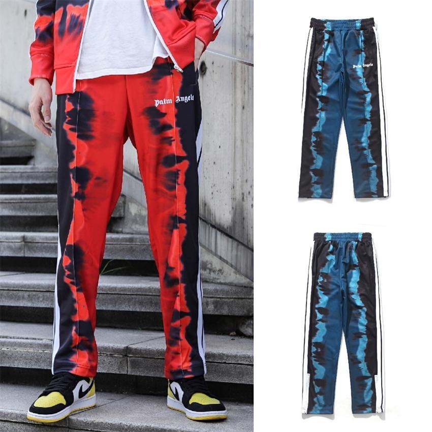 Pa printemps et cravate épissage bande rouge hommes automne teinture pantalon décontracté ourlet fermeture éclair pantalon de sport dentelle noir et blanc