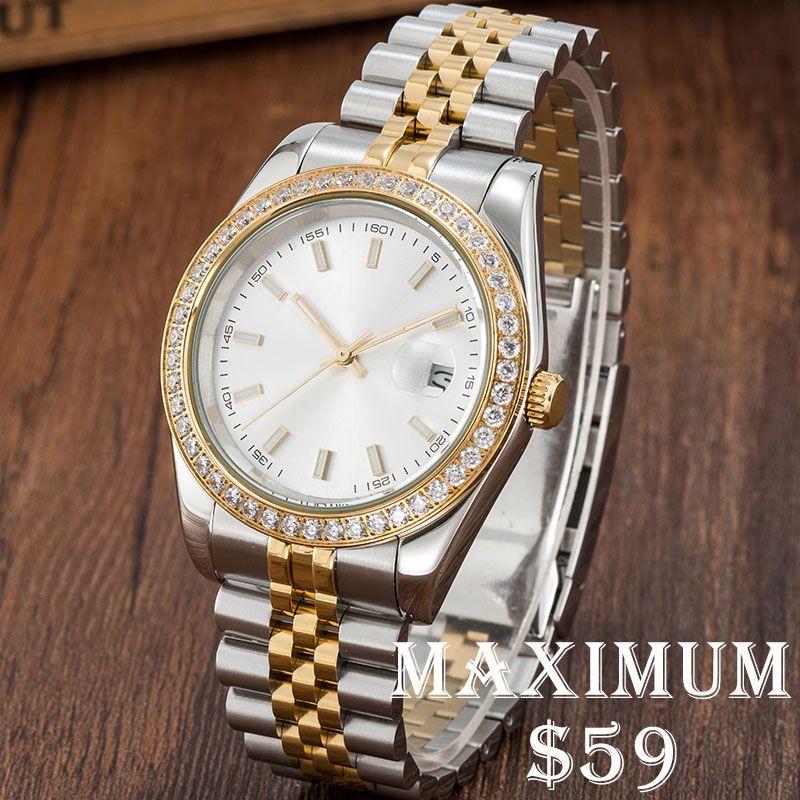 Montre de Luxe Mens Diamond Relógios Movimento Mecânico Automático Assista Completo De Aço Inoxidável Natação Assista Super Luminous Sapphire Vidro