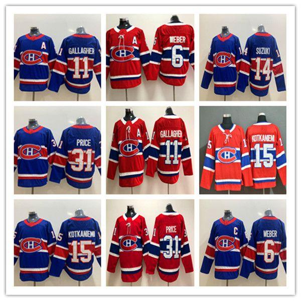 2021 Ters Retro Montreal Canadiens Hokey 6 Shea Weber 31 Carey Fiyat 11 Brendan Gallagher 14 Nick Suzuki 15 Jesperi Kotkaniemi Jersey