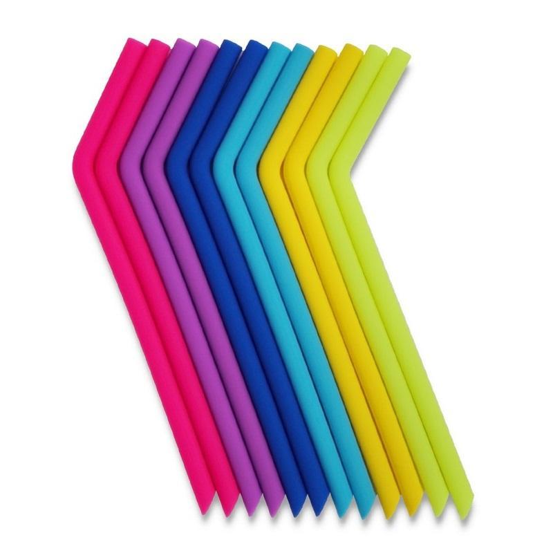 Içme Payet Çevre Dostu Silikon Kavisli Saman 6 Renkler Yeniden Kullanılabilir 800 ml Kupalar Smoothie Esnek Enayi WB3070
