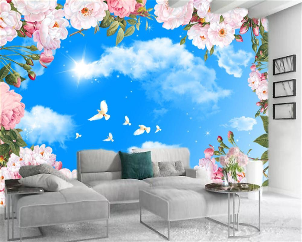 3D wallpaper céu bonito flores céu cenário personalizado romântico hd flores silk wallpaper