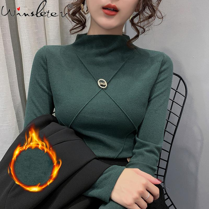 Autumn Winter Clothes T-shirt Brushed Cotton Solid Turtleneck Women Tops Ropa Mujer Bottoming Shirt With Fleece Tees 2020 T07516 A1112