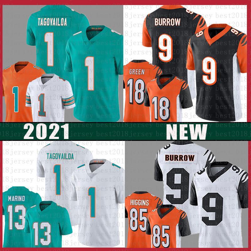1 Tua Tuavailoa 9 Joe Burrow Football Jersey 13 Dan Marino 18 A.J. Verde 85 Tee Higgins Jerseys
