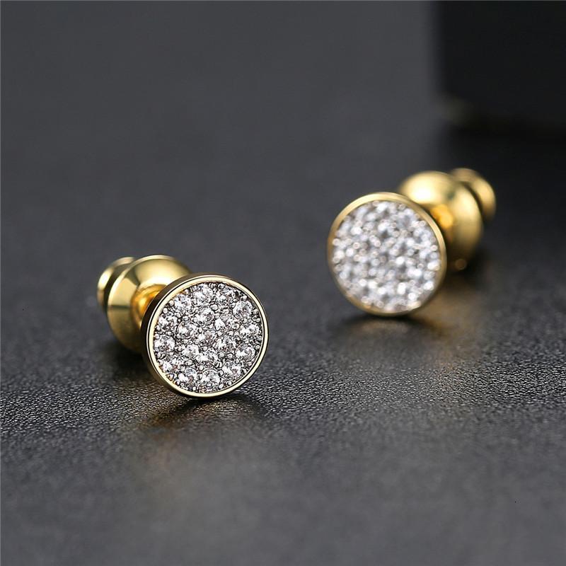 Круглые цвета крошечный серебряный золотой мини-диск CZ Zircon серьги для женщин минималистский дизайн партийные украшения