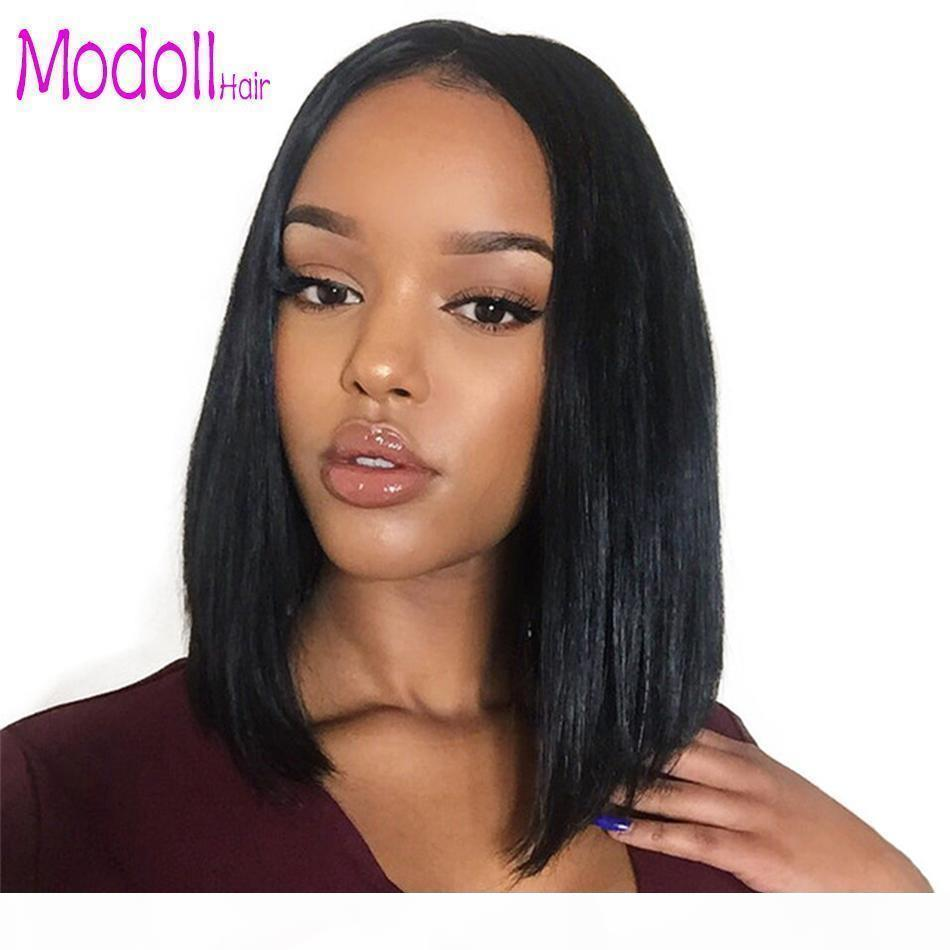 Short Lace Front Human Hair Wigs Pre Plucked Bob Wig Natural Black Straight Ombre 613 blonde glueless brazilian hair lace front wig dhgate