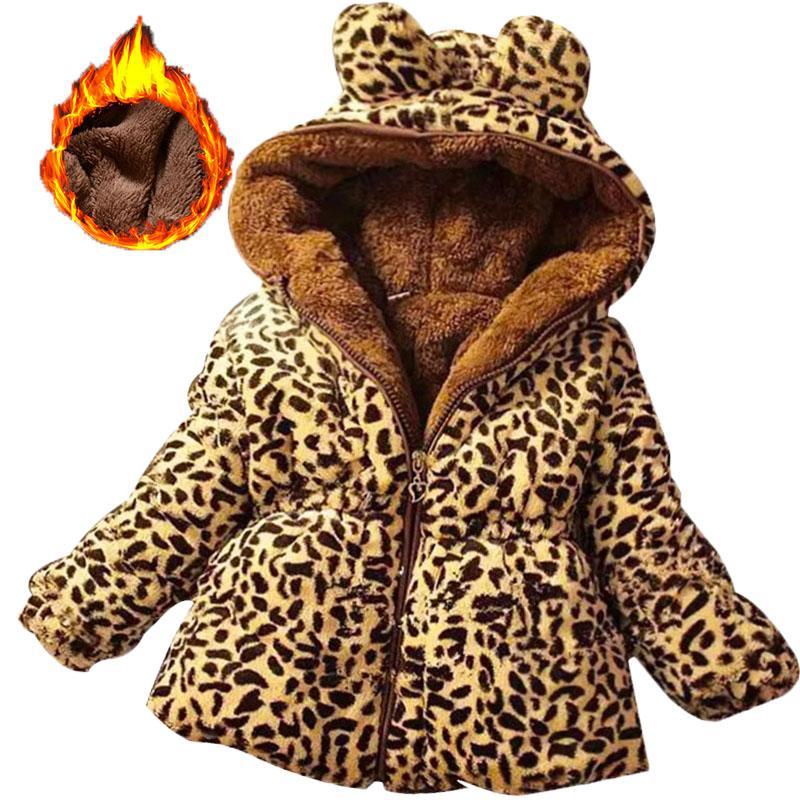Inverno de manga cheia leopardo faux fox colarinho crianças meninas casaco jaqueta bebê menina outerwear encapuçado roupa infantil quente