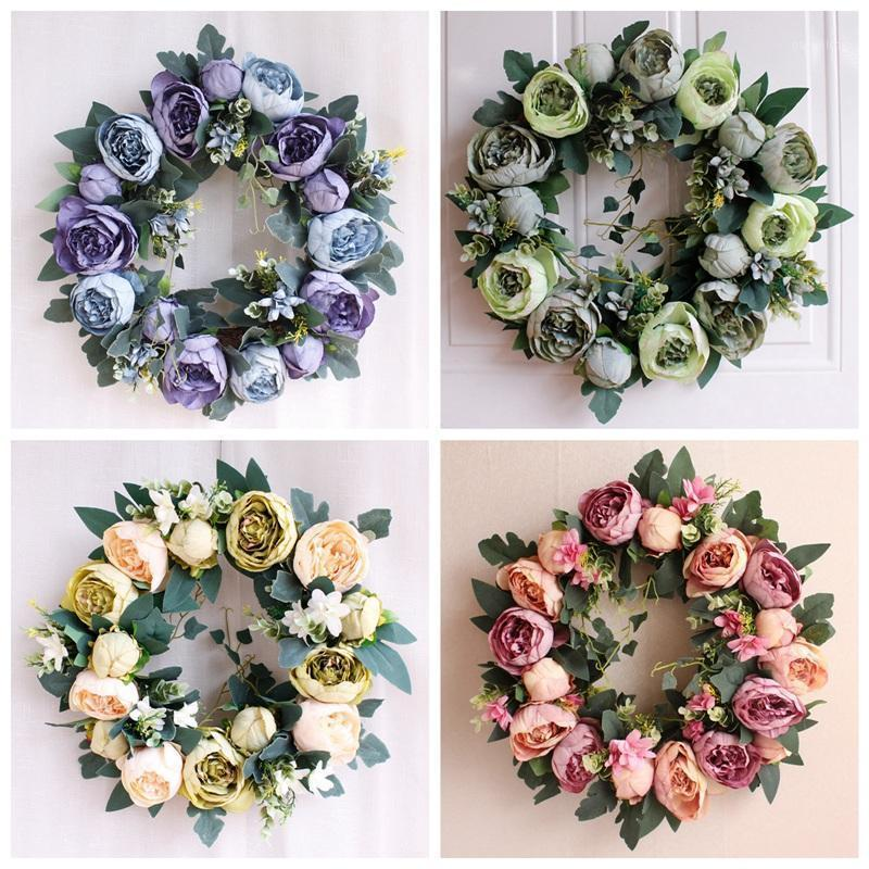 Искусственные цветы венки шелк роза пион поддельный цветок DIY свадьба домашняя вечеринка подделка поддельных цветов стены декор рождественские гирлянда1