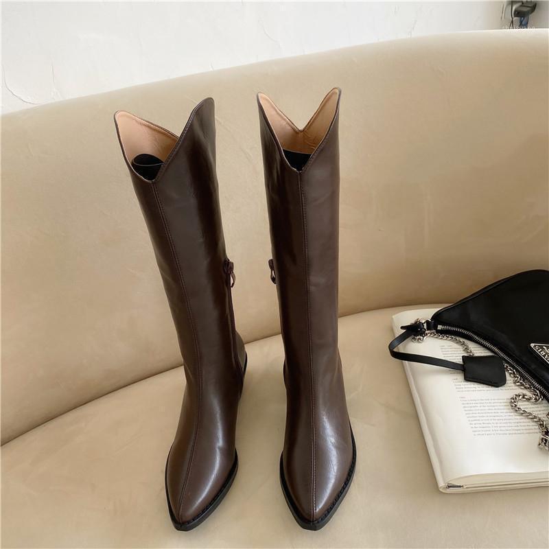 Genou 2020 ins femmes high talon bottes dame équitation botas chaude hiver chaussures pointues pointues pointues chaussures décontractées chaussures longues1