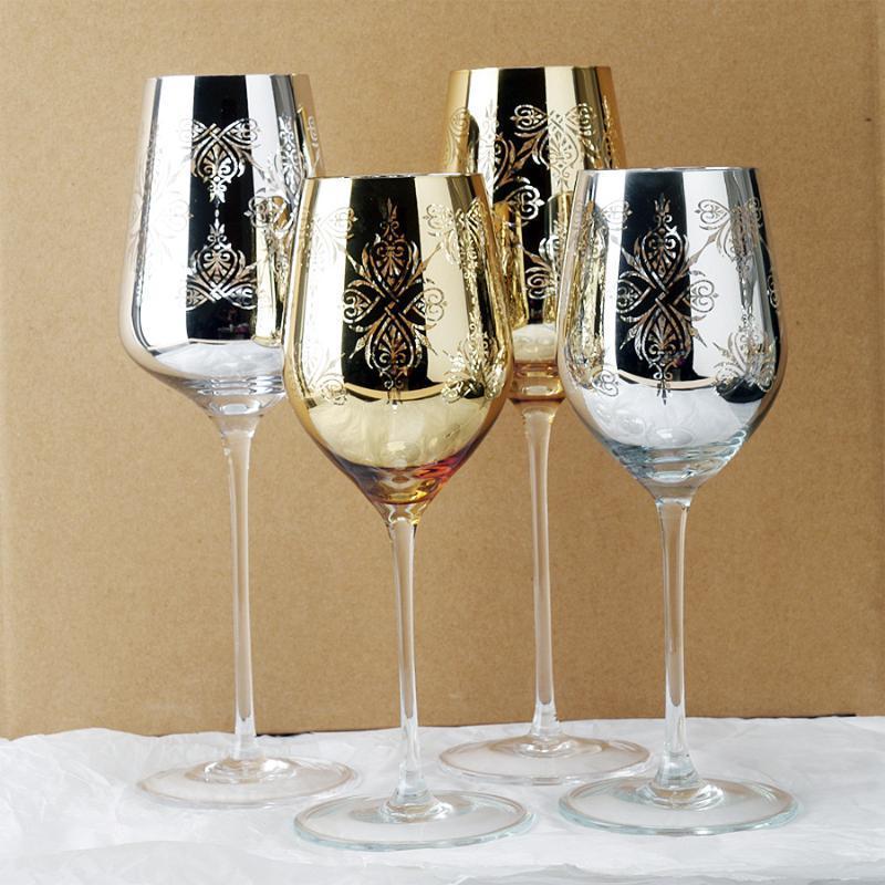 2pcscreative cumpleaños regalos de boda chapado en oro plata metal cristal cristal copa de vino tinto vino home hotel casa decoración