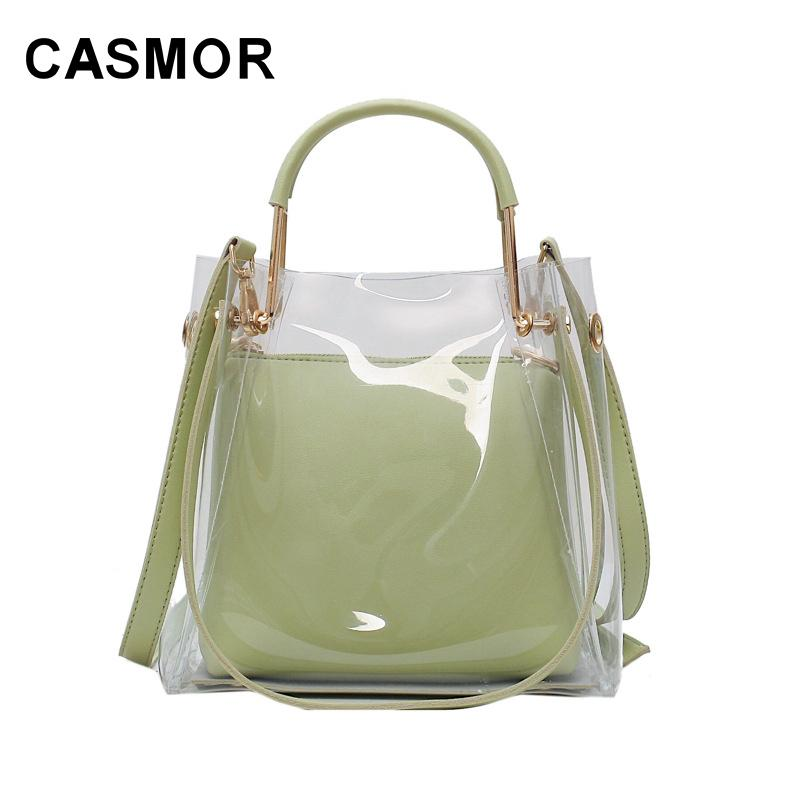 CASMOR Summer Small Female 2020 New Korean Handbags Fashion Clear Jelly Shoulder Bag Casual Women Bags Q1118