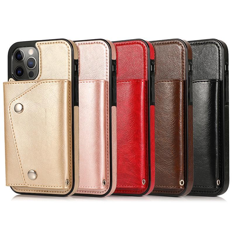 Capa de telefone com cartão de carteira para iPhone12 11Pro Se20 7 8PLUS XR Capa de Couro de Luxo para Samsung
