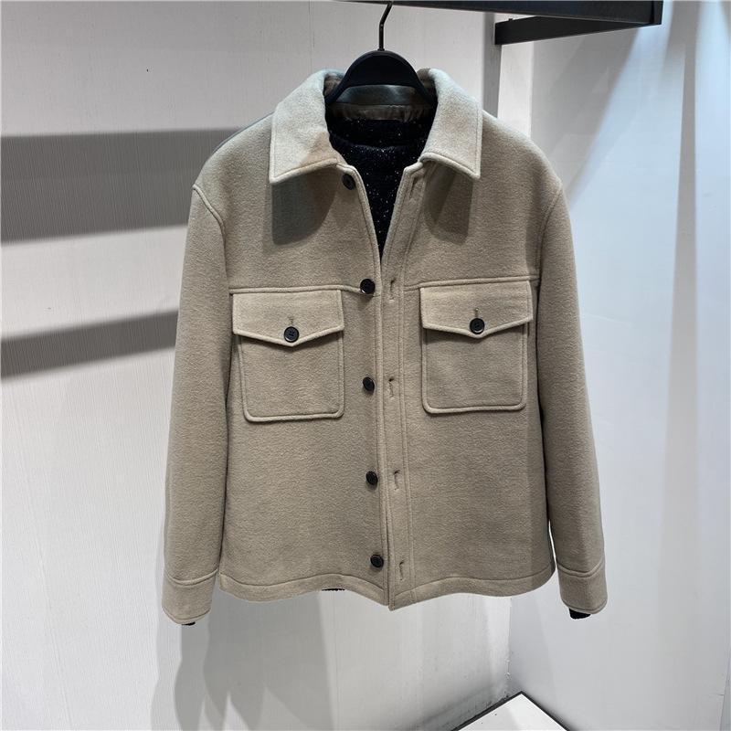Spot New Men's Winter Ploth Coat Double Warm Fashion B2BCA4259 Giacca in lana