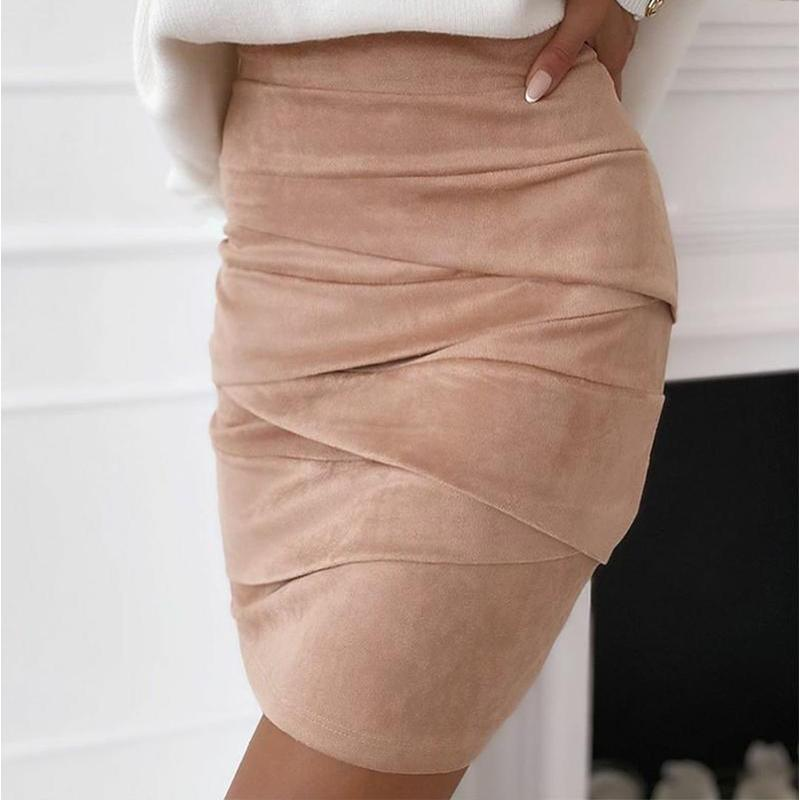 Suede Women's Mini Skirt Cross Ruched Skinny Sexy High Waist Bandage Female Skirts 2020 New Autumn Winter Streetwear Lady Bottom