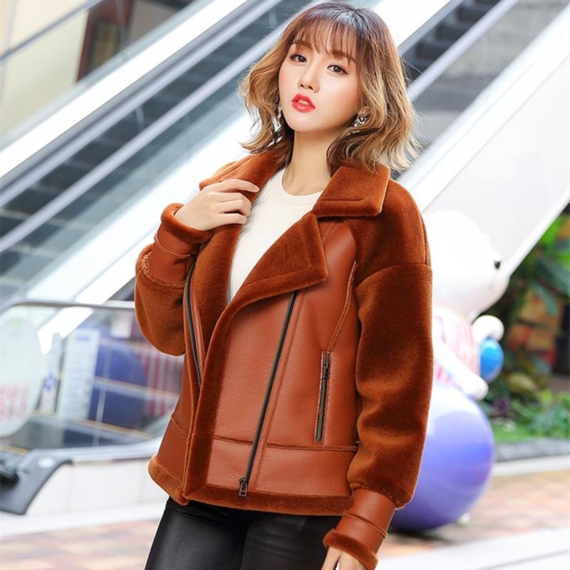 Femmes hiver Vêtements de dessus de haute qualité Veste en laine Soft PU Cuir manteau Femme Casual Loose Plus Taille Cashmere Overcoat LY614 201104