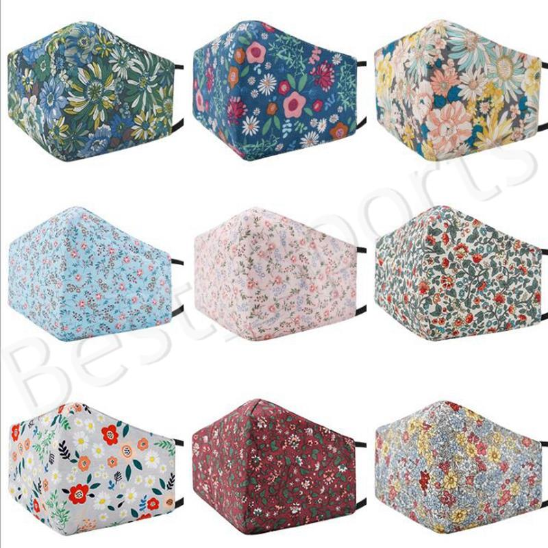 Toz Geçirmez Moda Yüz Maskesi Çiçek Baskı Koruyucu Maske Yıkanabilir Kullanımlık Kadınlar Renkli Pamuk Yüz Maskesi YYA580