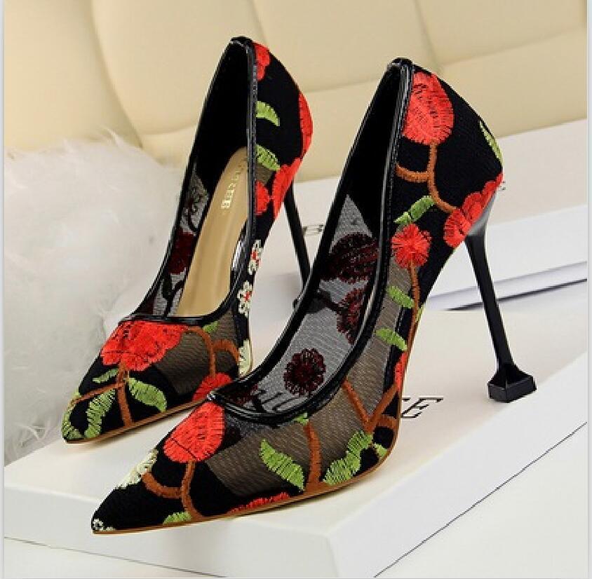 2021 Новый дизайн женская мода высокие каблуки обувь офис десейват сексуальные кружевные насосы тонкие каблуки 10см леди открытый повседневный ужин указал # P62