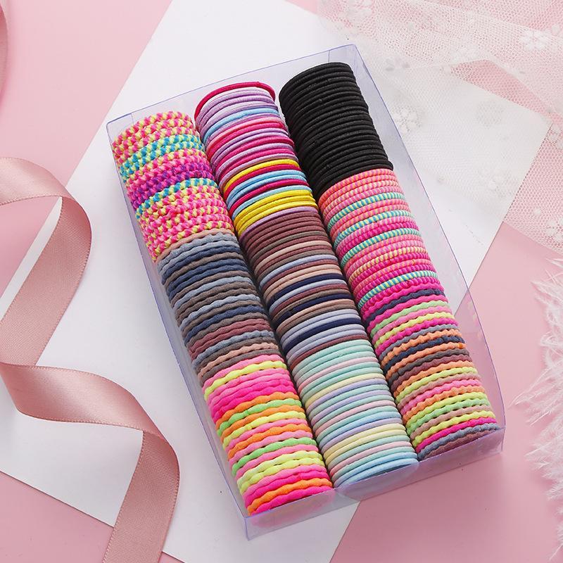 50 adet / takım Renkli Kore Tarzı Güzel Çocuk Elastik Hairband Sakız Sevimli Bebek Kız Tatlı Saç Aksesuarları Kafa