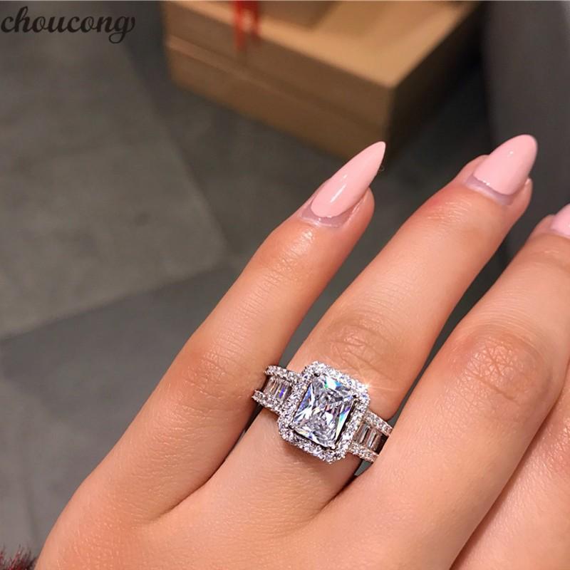 Choucong heißer Verkauf atemberaubender Luxus-Schmuck echt 925 Sterling Silber Prinzessin Cut Weiß Topas CZ Diamant Ewigkeit Hochzeitsband Ring für Frauen