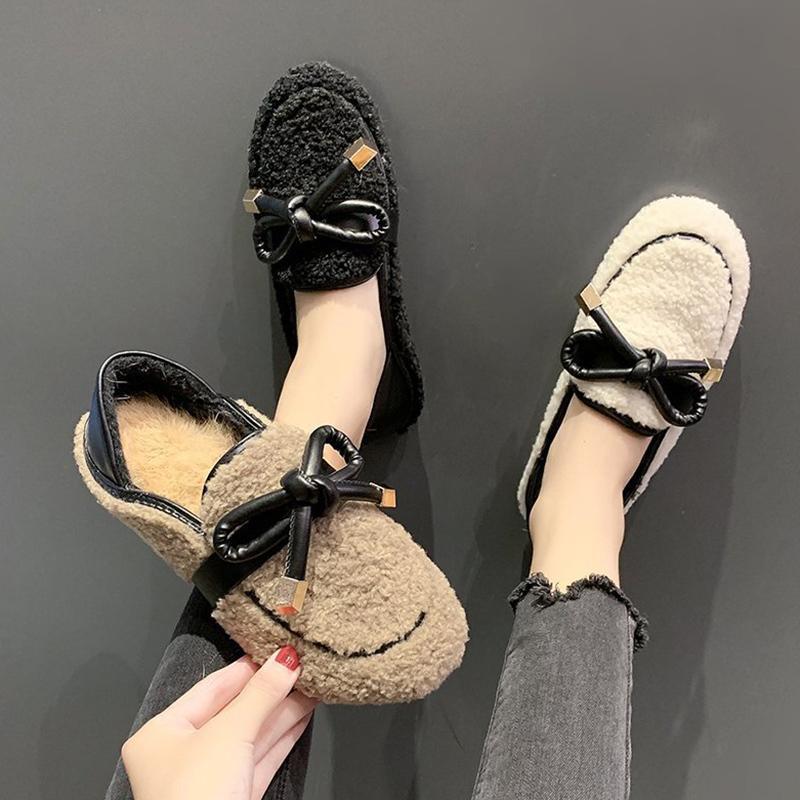Низкая кожаная обувь для комфорта для женщин 2020 женские мелочи для женщин на каблуках мягкий костюм женский бежевый Flip мех с низким содержанием каблука Comfort Lykj-YX Q1204