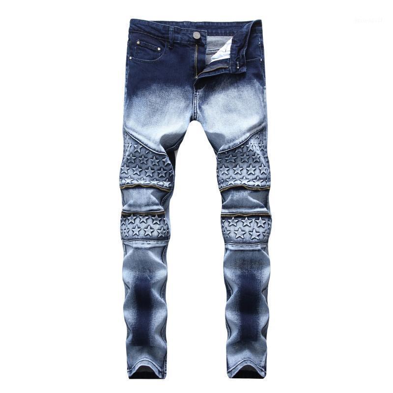 Jeans pour hommes de haute qualité mâle streetwear mode slim hommes fausse fausse fermeture à glissière individualité deux tons épissés denim pantalon droit pantalon1