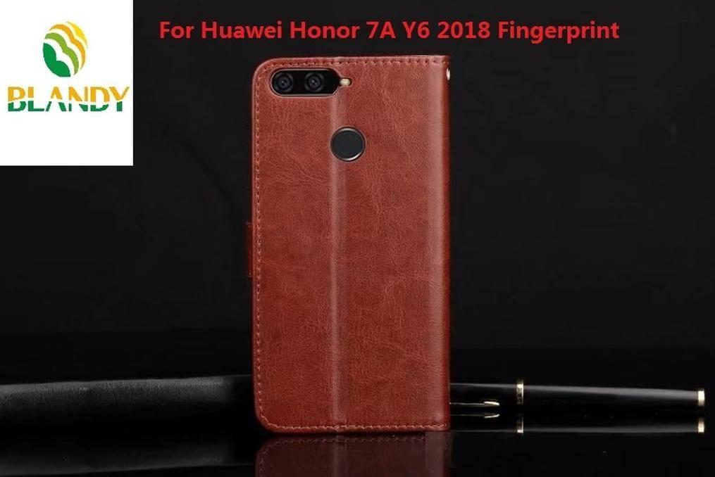 Pour Huawei P20 Lite styles de livre en cuir Crazy Horse PU TPU couverture portefeuille de couverture de cas pour Huawei Honor 7A Y6 2018 d'empreintes digitales