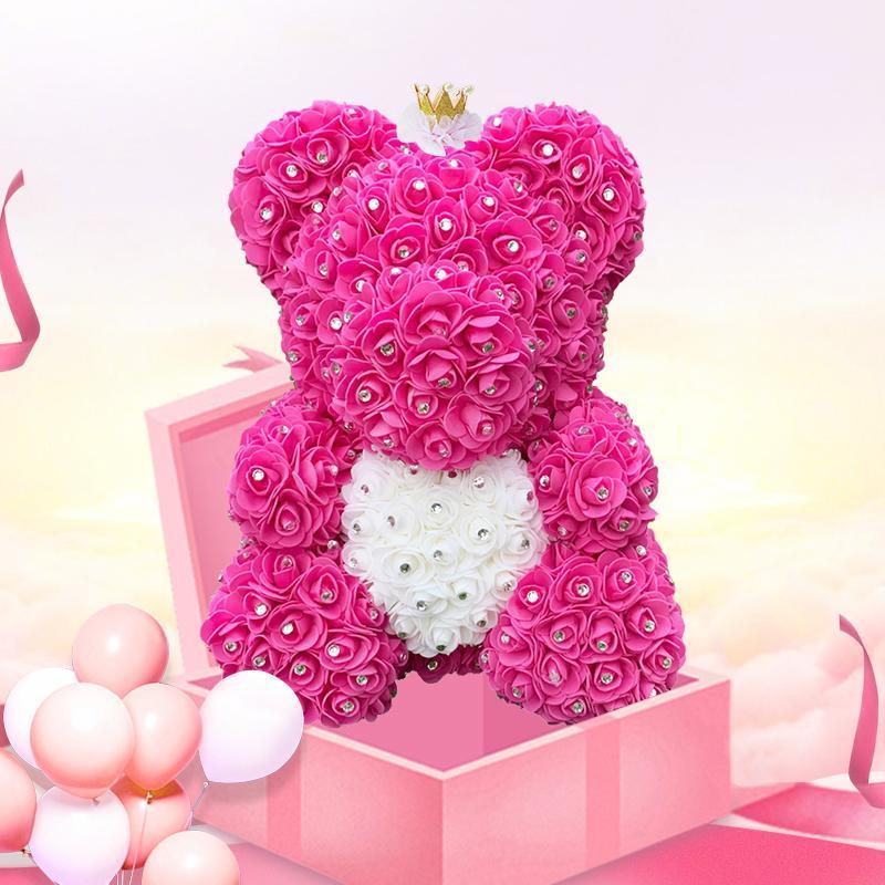 Drop Shipping Regali di San Valentino Diamond Teddy Rose Bears 40cm Bearsi per fiori artificiali per ragazze Regali di Natale