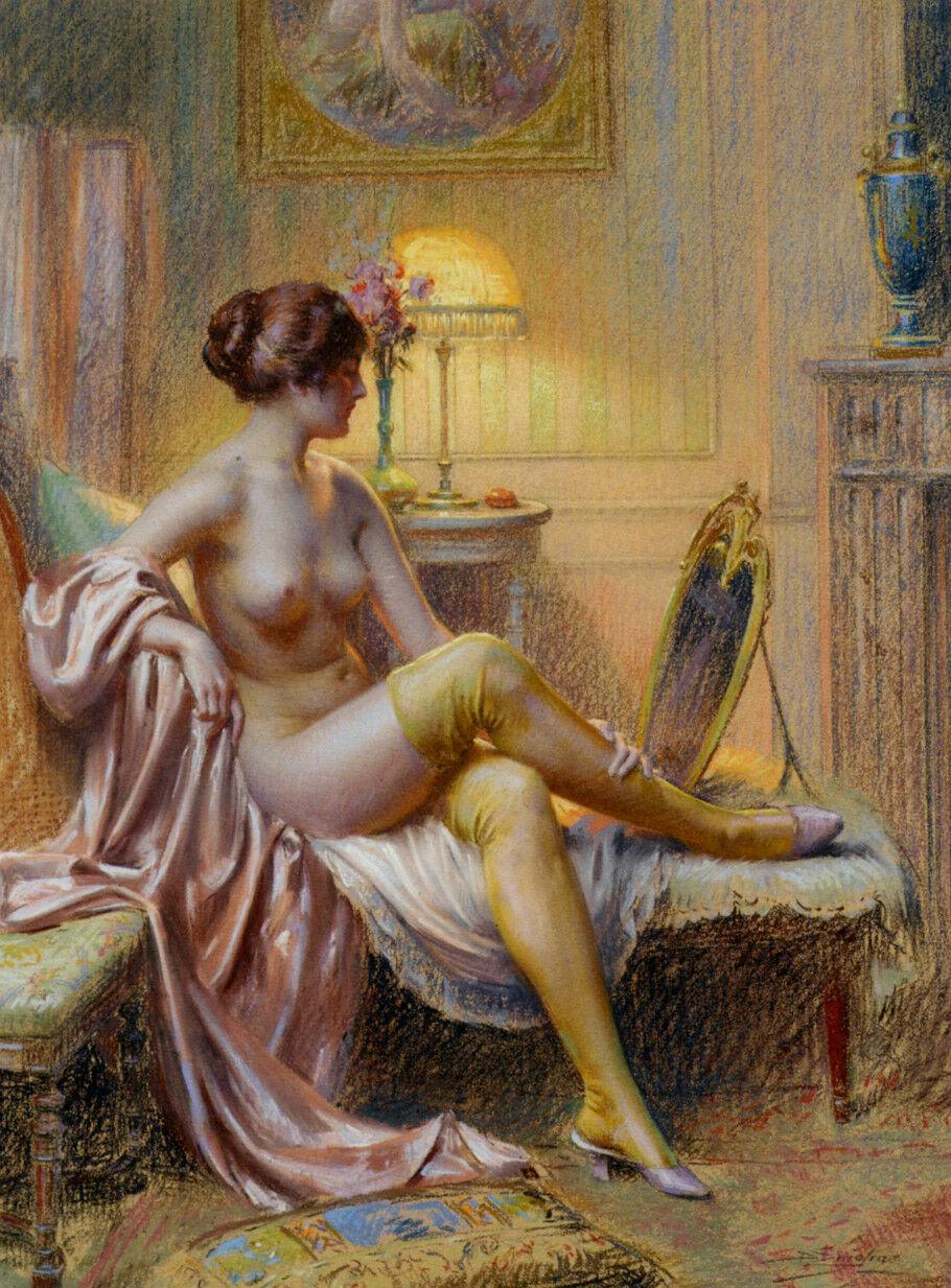 Auto-apprezzamento prima di dormire Nice giovane donna Home Decor Handpainted HD Stampa pittura a olio su tela Wall Art Canvas, F2012015