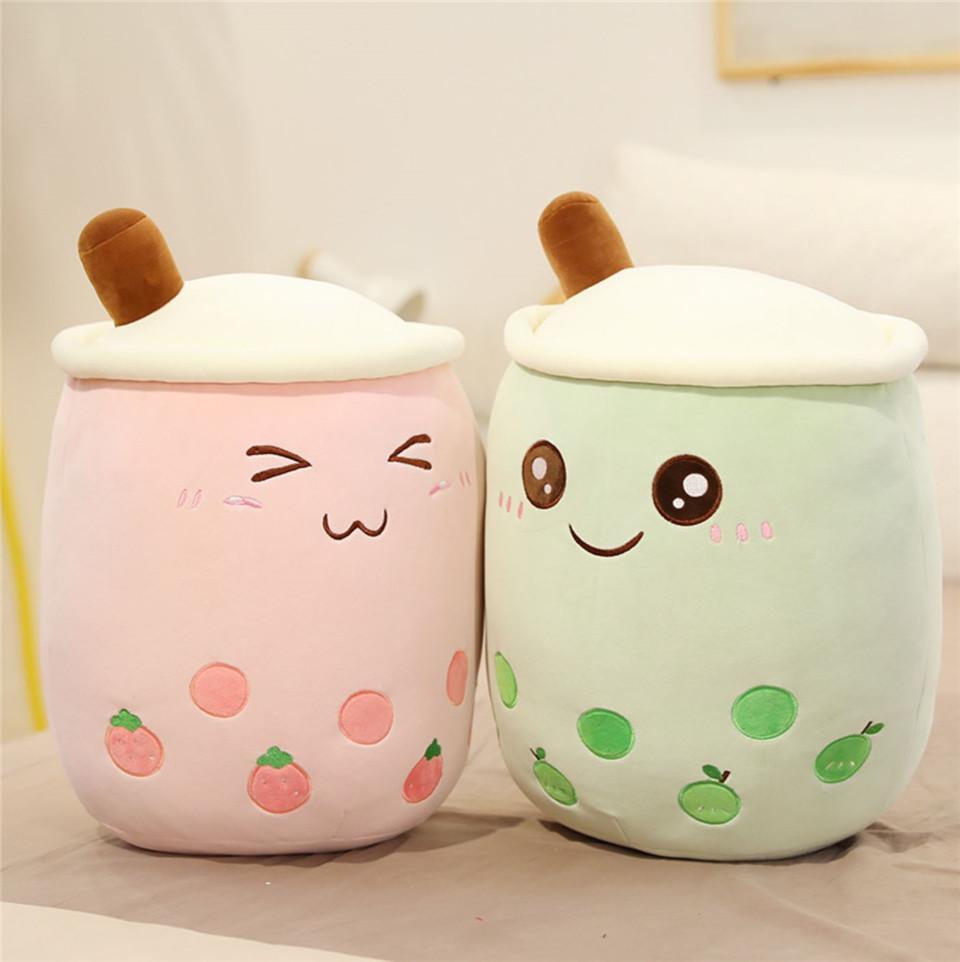 24-70cm Cartoon Bubble Tee Tasseförmige Kissen Real-Life Milch Tee Plüsch Gefüllte weiche Rückenkissen Lustige Lebensmittel Geschenke Kinder Geburtstag