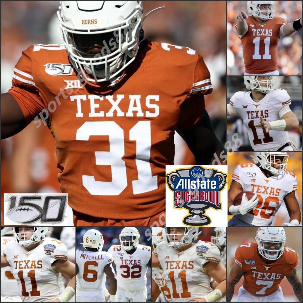 2020 Personalizado Texas Longhorns 5 Bijan Robinson Sam Ehlinger Jersey Vintage # 10 Vince Young Earl Campbell Ricky Williams Texas Longhorns