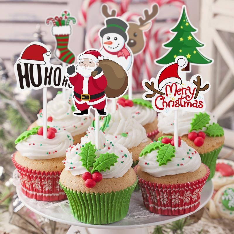 72PCS Christmas Cake Decor Cake Topper Cupcake Toppers Santa Claus Tree Snowman Sock Picks Cupcake Wrappers Christmas Decoration