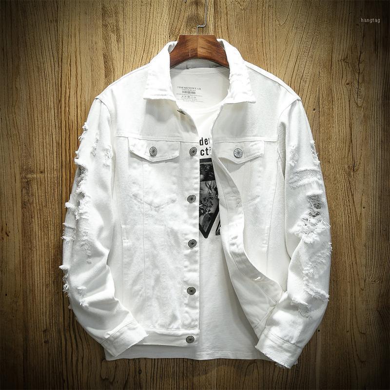 Весенние дыры джинсовая куртка мужчины разорванные ковбойские куртки пальто мужской тонкий подходит сплошные повседневные пальто хлопка белый черный плюс размер 5xL1