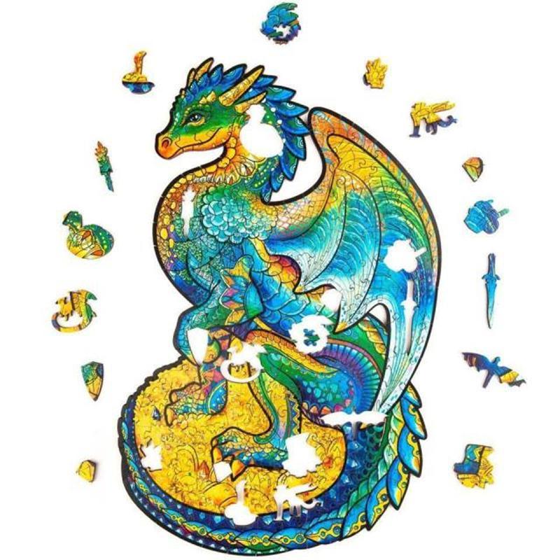 Оптово-деревянная головоломка головоломки, лучший подарок для взрослых и детей, уникальные формы Jigsaw кусочки охраны дракона, 8,3 х 13 дюймов, 183 штуки