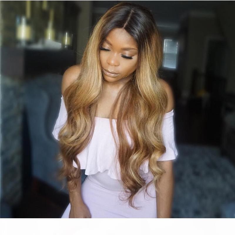 Perruques de cheveux humains pleines de dentelle ombre deux tons 1b 27 ondulé cheveux vierges brésilien 150 densité naturelle cheveux blanchis nœuds blanchi